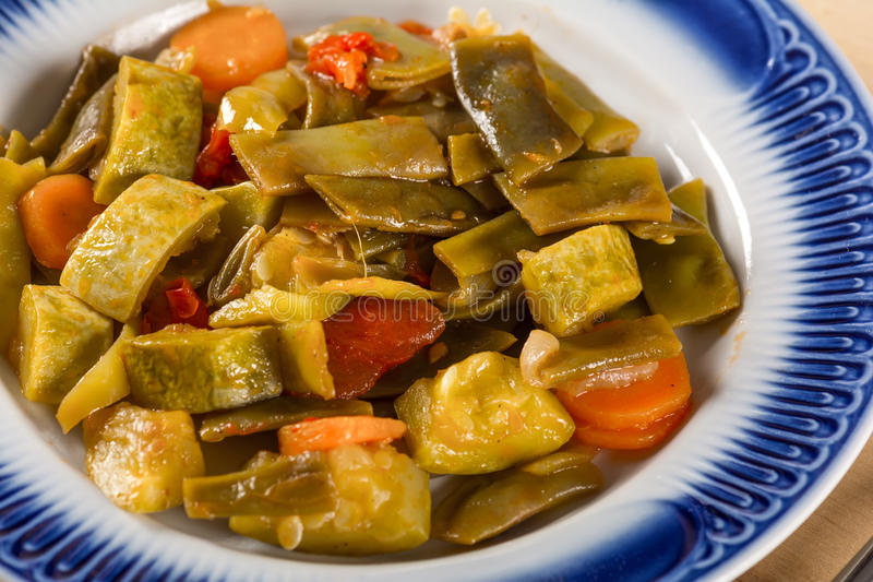 素食食物,煮沸的菜 库存图片