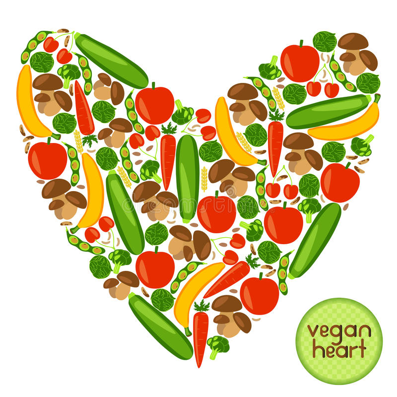 素食主义者心脏 向量例证