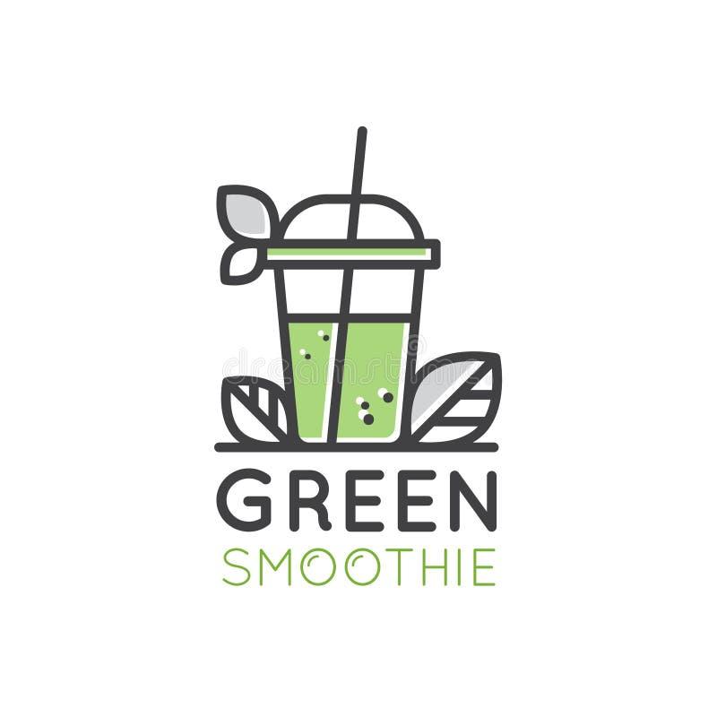 素食主义者或素食主义者圆滑的人果汁饮料戒毒所酒吧咖啡馆的商标与叶子新鲜的自然产品 向量例证