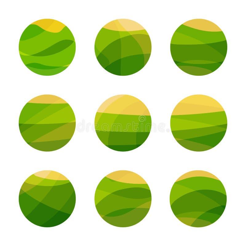素食主义者食物与黄色太阳的绿色领域 素食餐馆,咖啡馆商标 被设置的被隔绝的抽象装饰商标,设计 库存例证