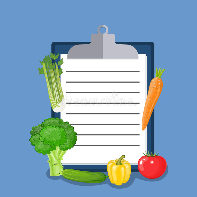 素食主义者饮食计划清单 库存例证