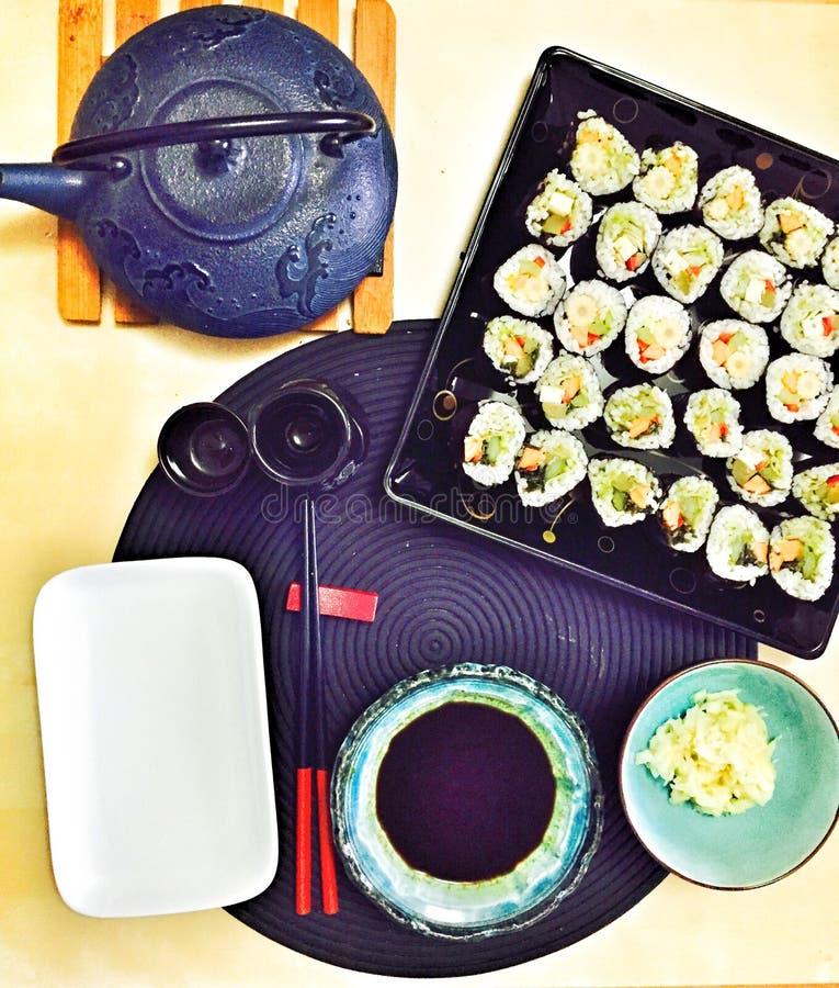 素食素食主义者寿司膳食 免版税库存图片