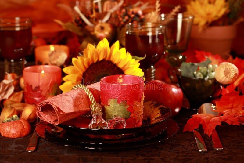 餐位餐具感恩 库存图片
