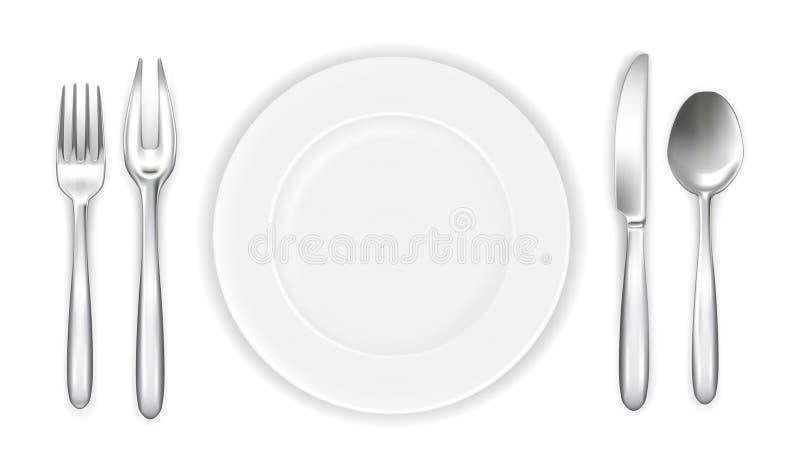 餐位餐具白色 皇族释放例证