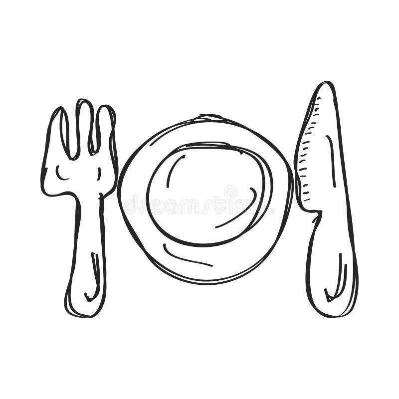 餐位餐具的简单的乱画 库存例证