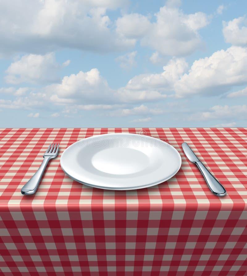 餐位餐具表 向量例证