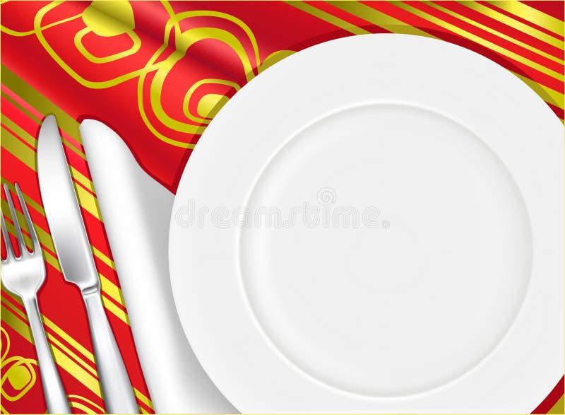 餐位餐具 向量例证