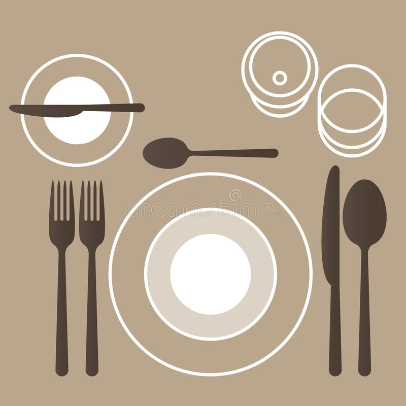 餐位餐具 库存例证