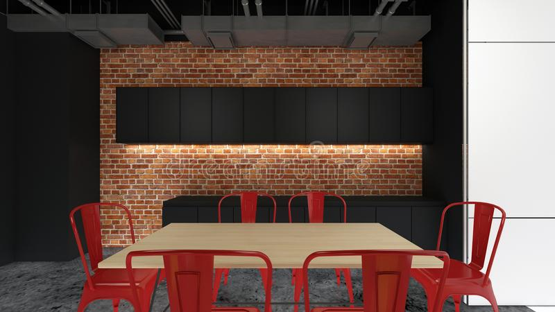 餐具室地区, 3d回报室内设计,例证的嘲笑 库存例证