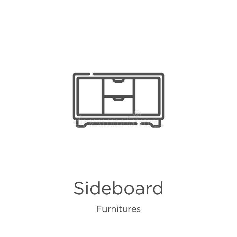 餐具柜从家具汇集的象传染媒介 稀薄的线餐具柜概述象传染媒介例证 概述,稀薄的线 向量例证