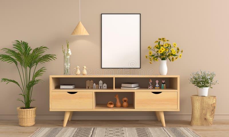 餐具柜和空白的相框大模型的,3D翻译 向量例证