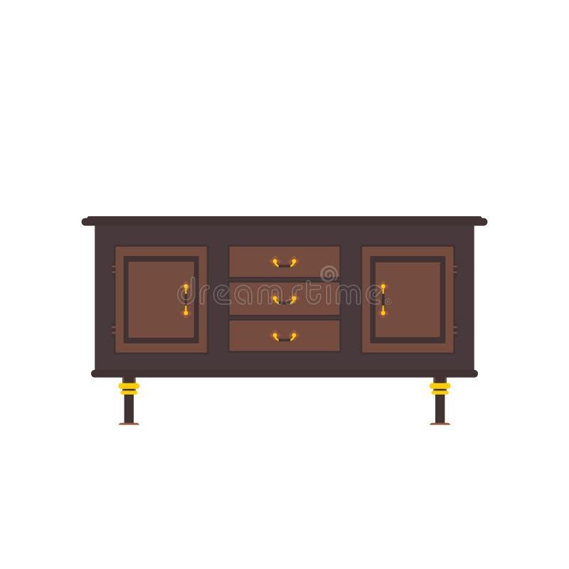 餐具柜平的传染媒介 它在老和现代样式被执行 皇族释放例证