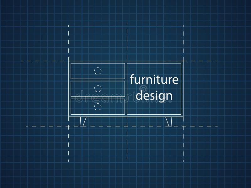 餐具柜平的传染媒介 它在老和现代样式被执行 库存例证