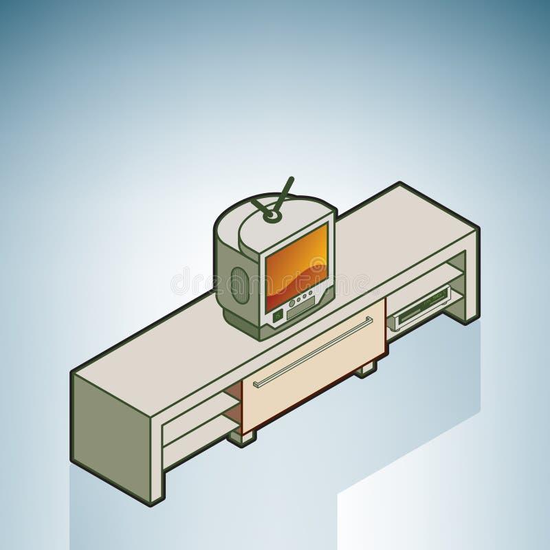餐具柜电视 向量例证