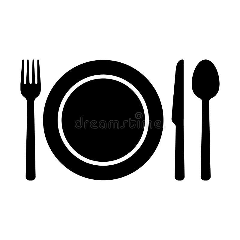 餐具标志象 叉子、匙子刀子和板材象 向量例证