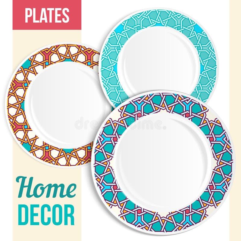 餐具集合,三块装饰板材设计 皇族释放例证