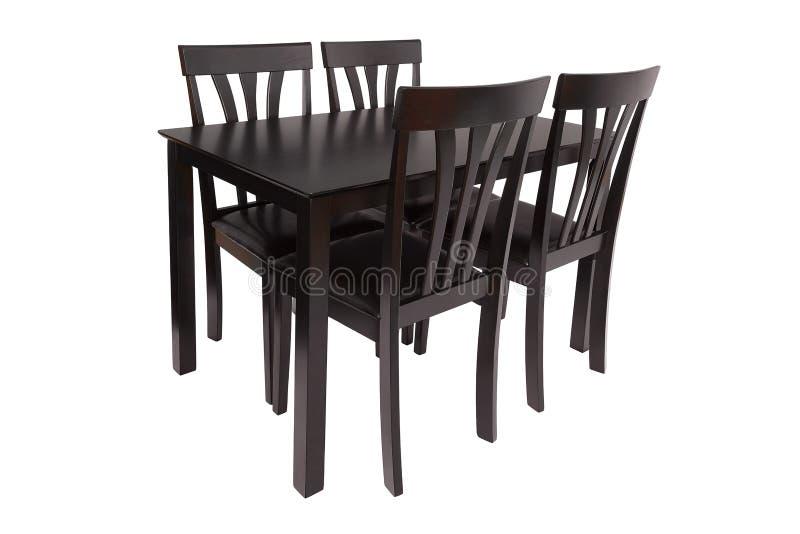 餐厅家具套桌和四把椅子 客厅或厨房的典雅的用餐的家具,由黑褐色木头制成 免版税库存图片