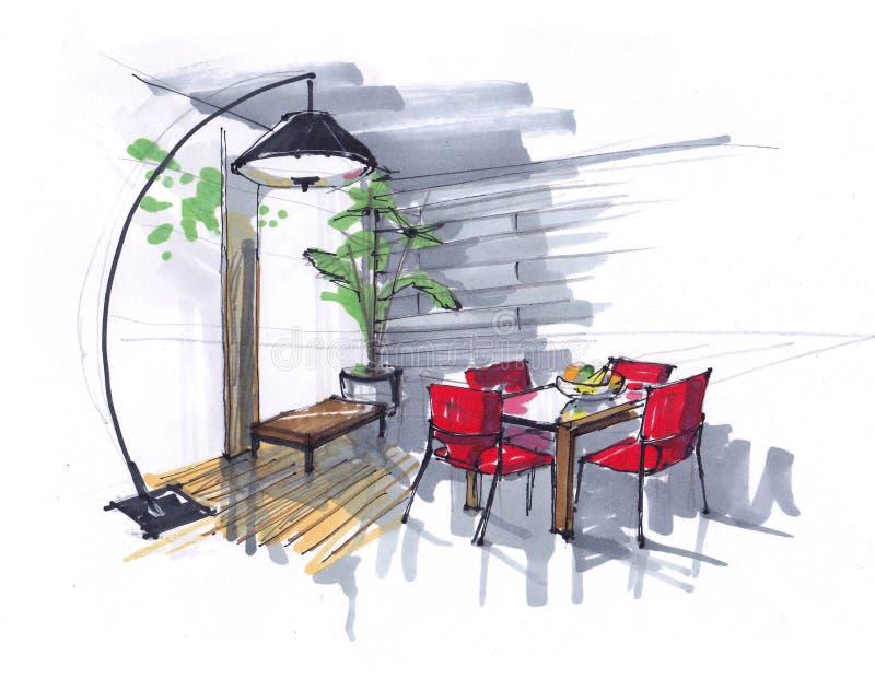 餐厅的剪影 花、桌和红色椅子在区域与大Windows 大设计师落地灯 ? 库存例证