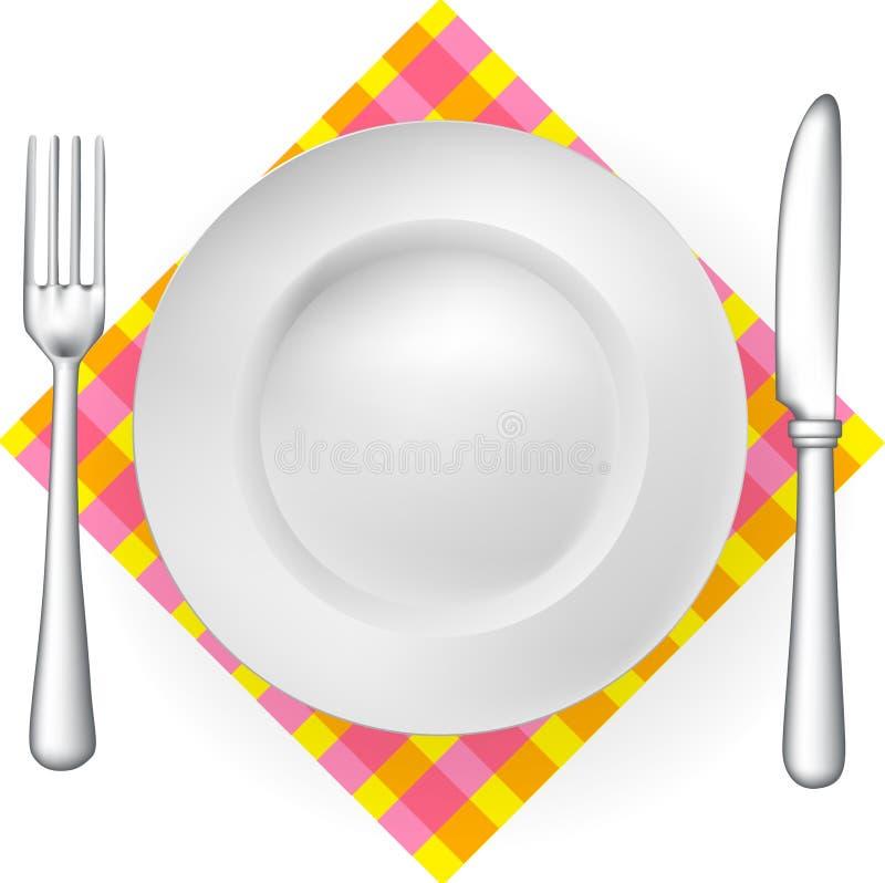 餐巾碗筷 皇族释放例证