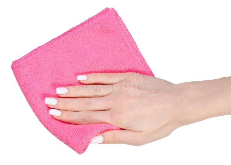 餐巾microfiber桃红色在手中 库存照片