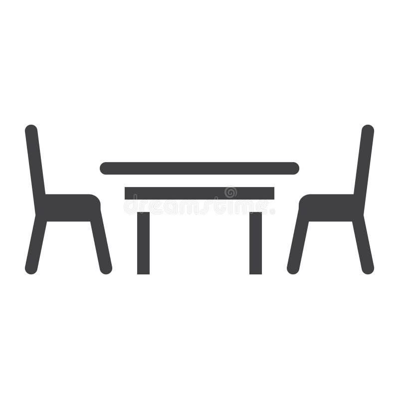 餐桌坚实象、家具和内部 库存例证