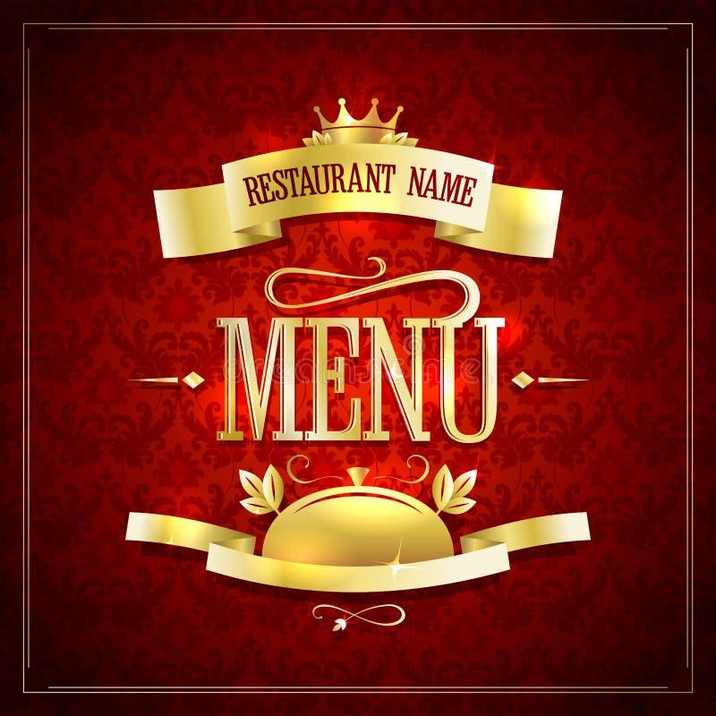 餐馆与金黄丝带和标题的菜单设计 皇族释放例证