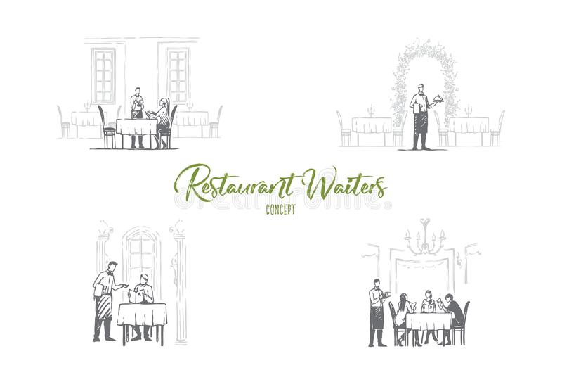 餐馆侍者-侍者在得到命令和带来食物传染媒介概念集合的餐馆 向量例证