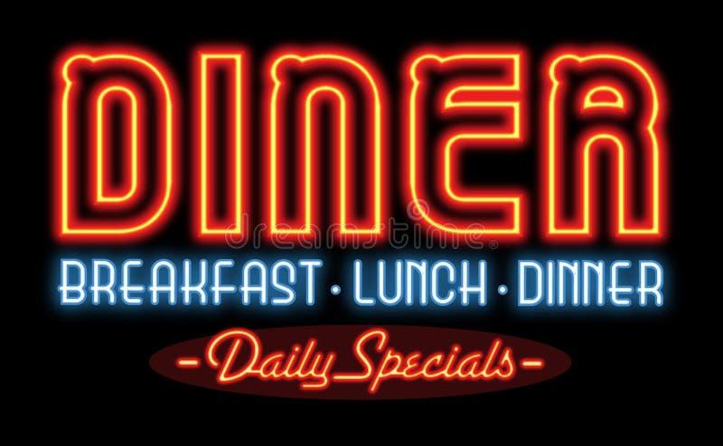 餐馆吃饭的客人霓虹灯广告 图库摄影