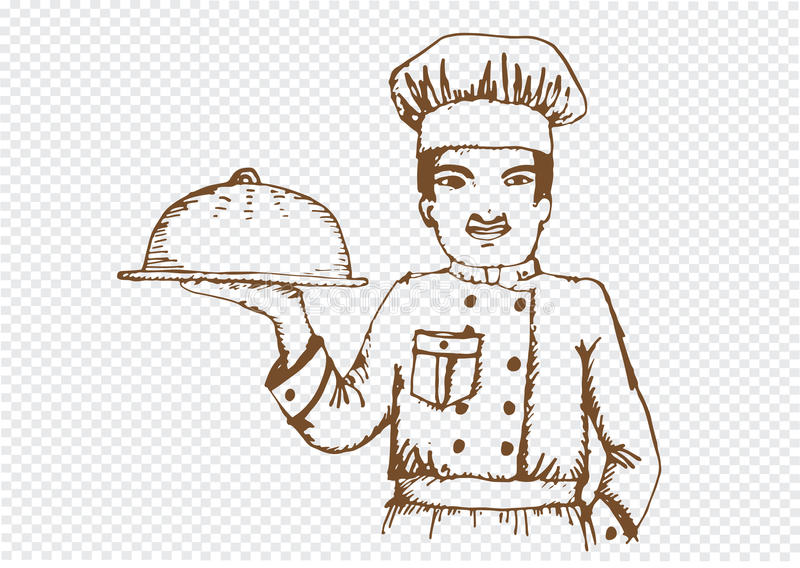 餐馆和咖啡馆的厨师 皇族释放例证