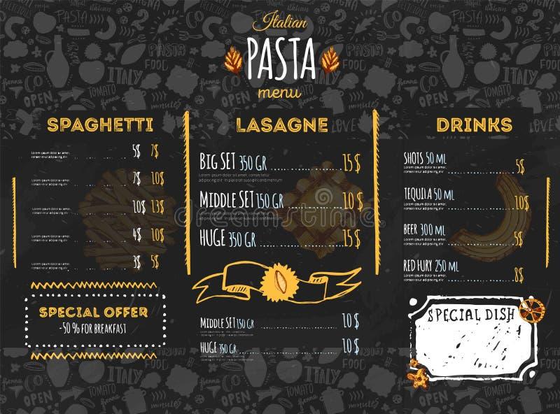 餐馆和咖啡馆的意大利面团菜单设计 与剪影手拉的意粉样式的模板在黑暗的黑板 向量例证