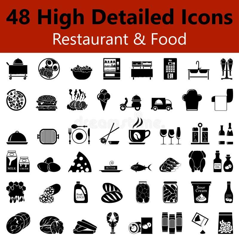 餐馆和食物光滑的象 库存例证