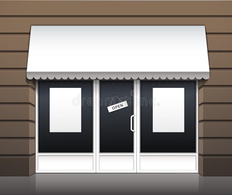 餐馆咖啡馆商店前面传染媒介外部  向量例证