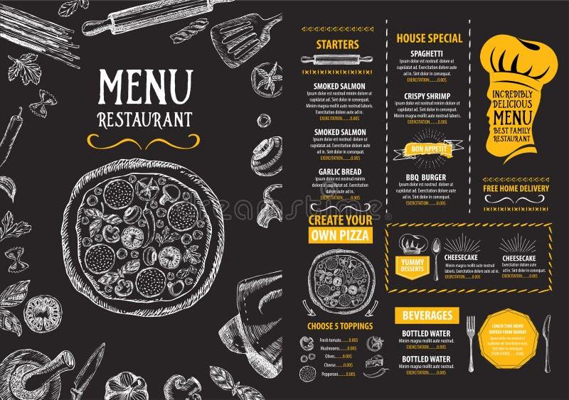 餐馆咖啡馆菜单,模板设计 食物飞行物 库存例证