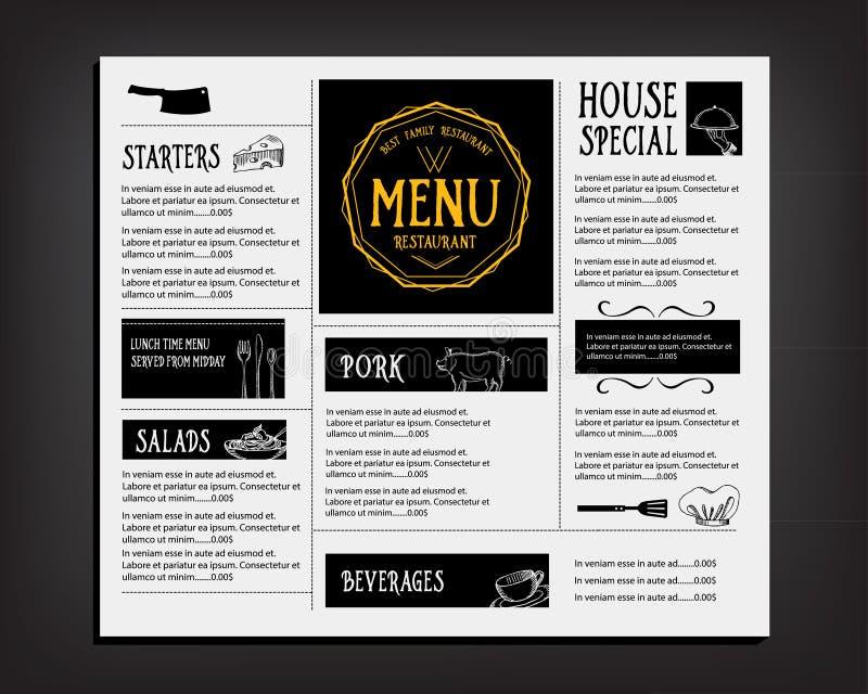 餐馆咖啡馆菜单,模板设计 食物飞行物 皇族释放例证