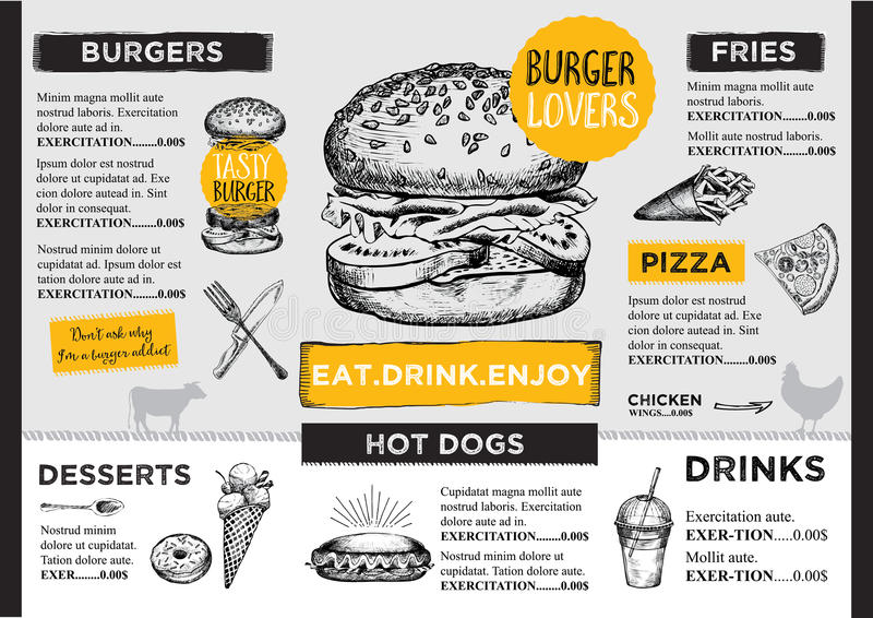 餐馆咖啡馆菜单,模板设计 库存例证