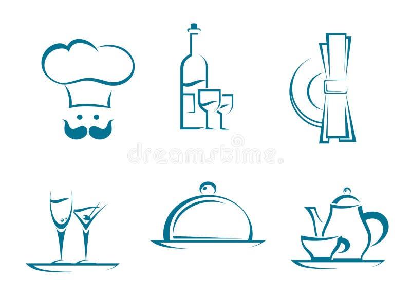 餐馆图标和符号 库存例证