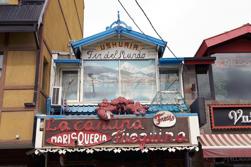 餐馆在乌斯怀亚,阿根廷 免版税库存照片