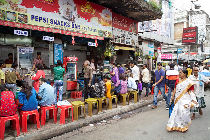 餐馆在加尔各答,印度 免版税库存图片