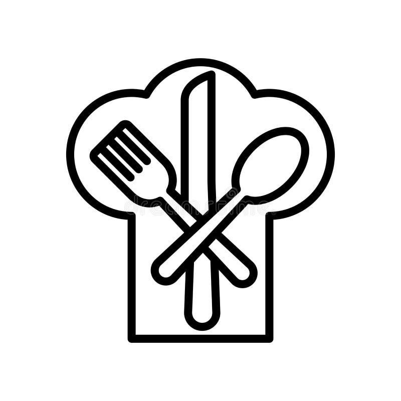 餐馆在白色背景、餐馆标志、线和概述元素隔绝的象传染媒介在线性样式 库存例证