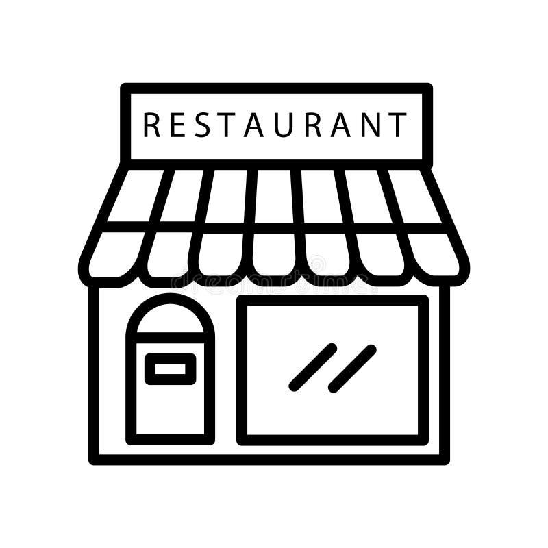 餐馆在白色背景、餐馆标志、线或者线性标志隔绝的象传染媒介,在概述样式的元素设计 皇族释放例证