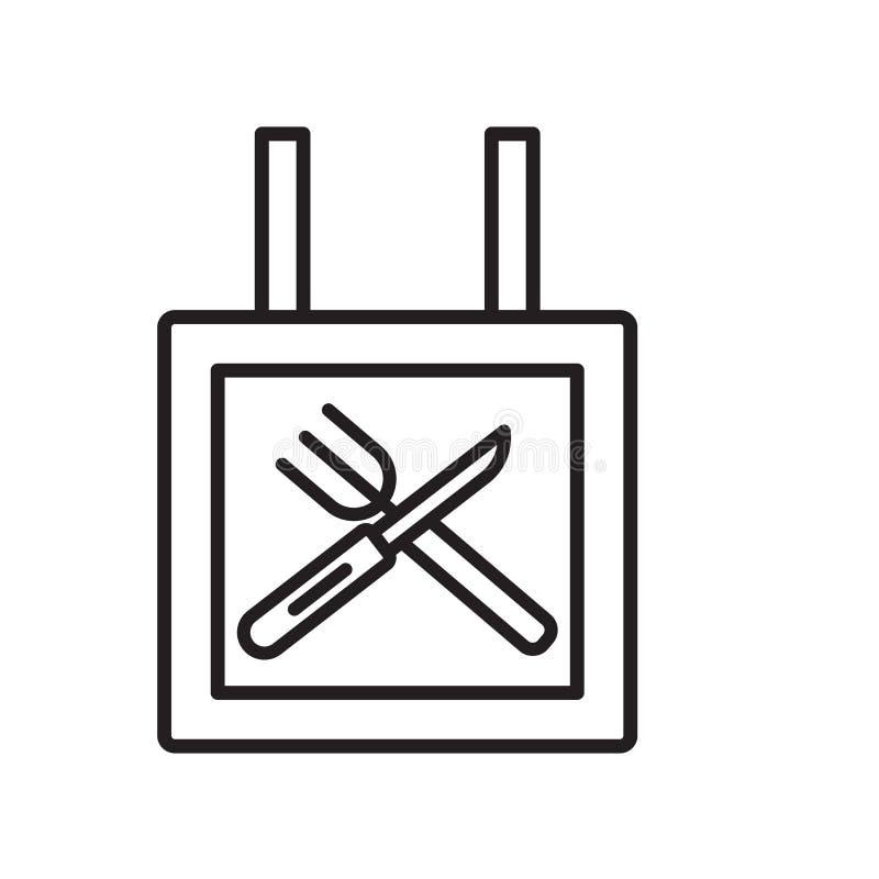 餐馆在白色背景隔绝的象传染媒介,餐馆标志,稀薄的线在概述样式的设计元素 库存例证