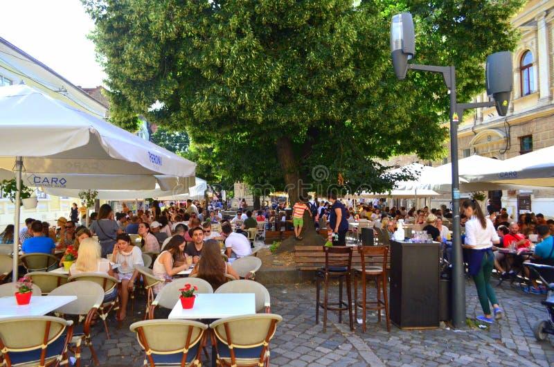 餐馆在科鲁Napoca 免版税库存照片