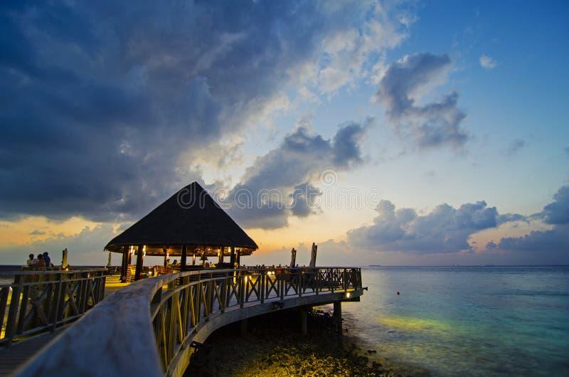餐馆在马尔代夫 免版税库存图片