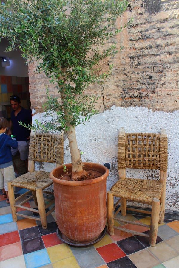 餐馆在马拉喀什-与一棵盆的植物的两把椅子一个围场的 图库摄影