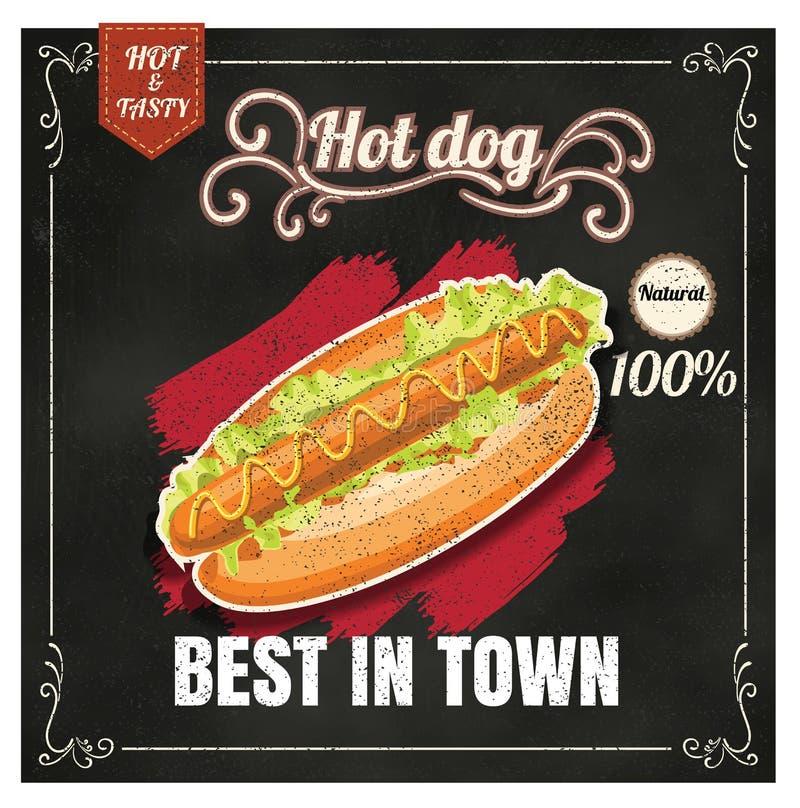餐馆快餐在黑板传染媒介格式ep的菜单热狗 库存例证