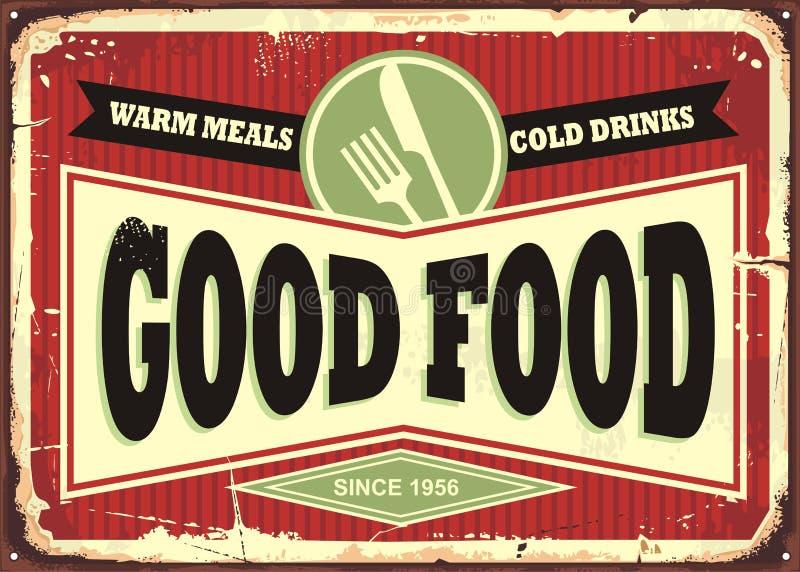餐馆或吃饭的客人的传统标志设计 库存例证