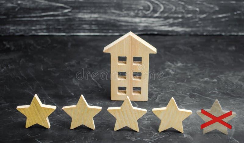 餐馆或旅馆的第五个星的损失 在规定值和公认的下降 恶化进入服务质量 库存图片