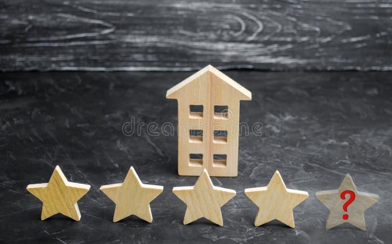 餐馆或旅馆的第五个星的损失 在规定值和公认的下降 恶化进入服务质量 图库摄影