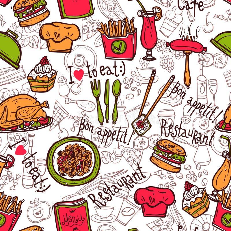 餐馆标志无缝的样式乱画剪影 库存例证