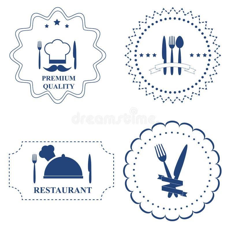 餐馆标签和厨房利器的套在白色backgr 皇族释放例证
